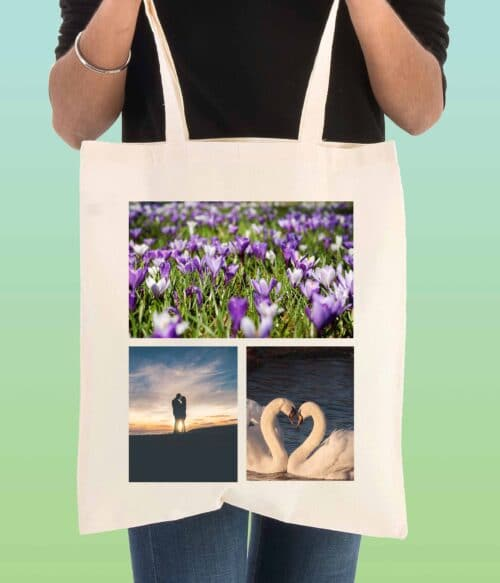 3 photos personalised tote bag - doodle bag - personalised cotton tote bags
