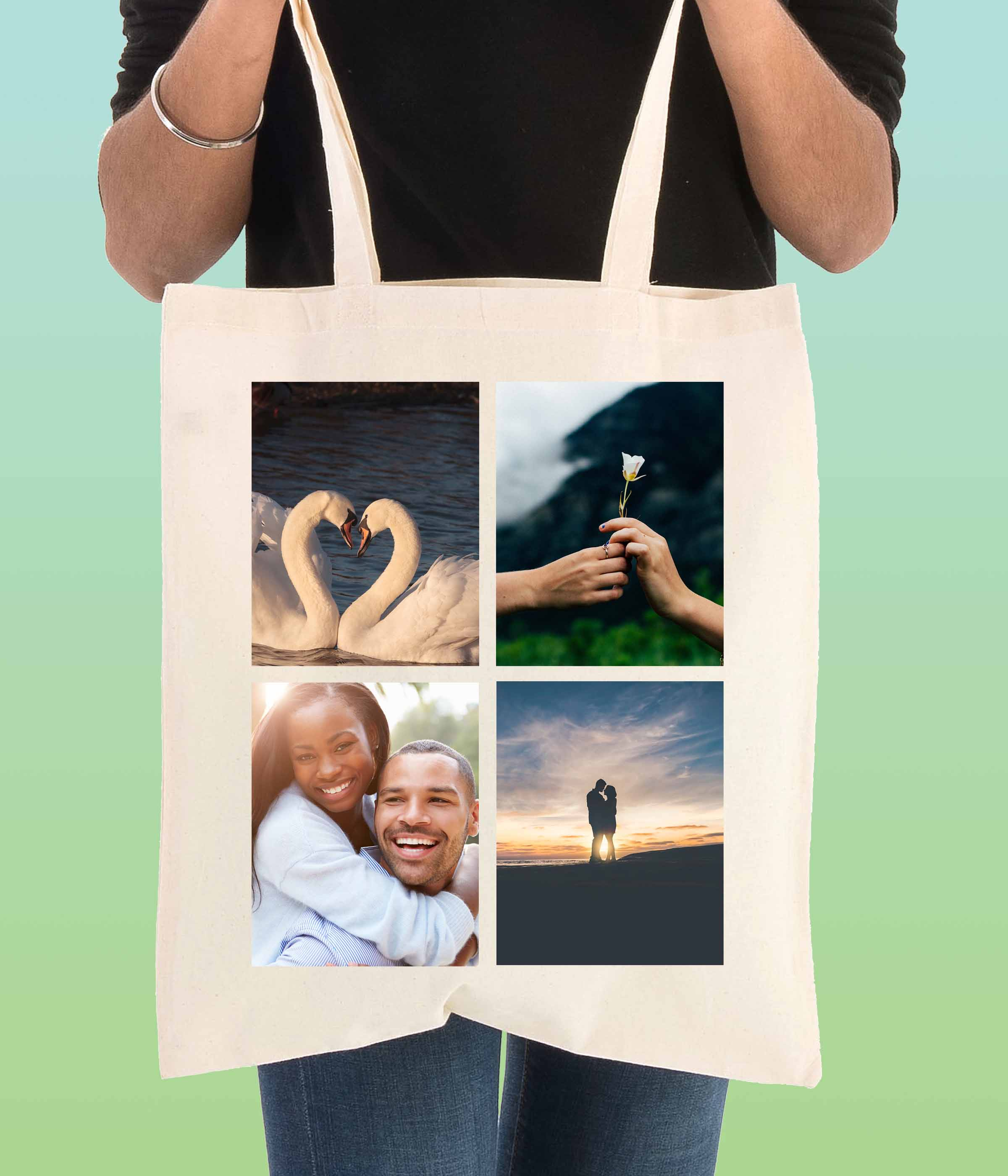 4 photos tote bag - doodle bag- personalised cotton tote bags