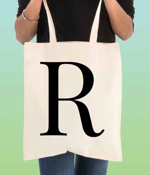 single initial personalised tote bag - doodle bag - personalised cotton tote bags