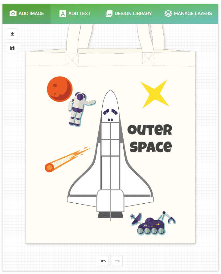 Outer space tote bag - doodle bag