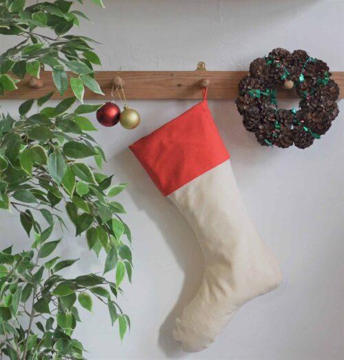 Christmas stocking hung on hook
