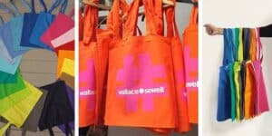 Bright and colourful tote bags
