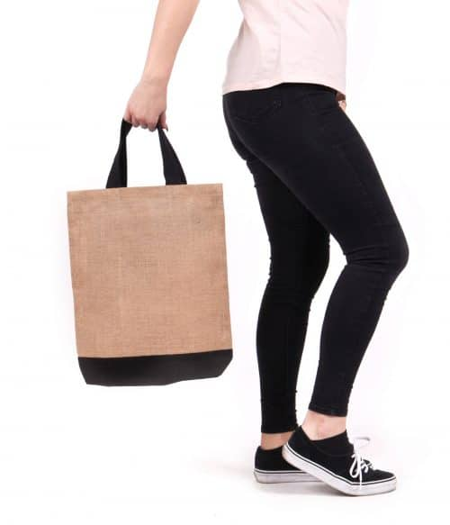 Contrast Jute Shopper