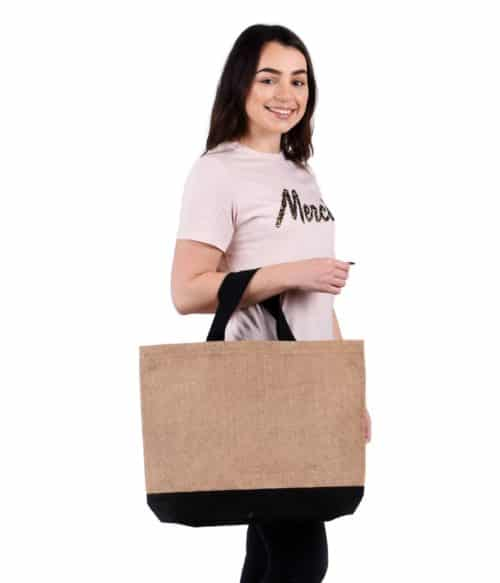 Large Contrast Jute Shopper