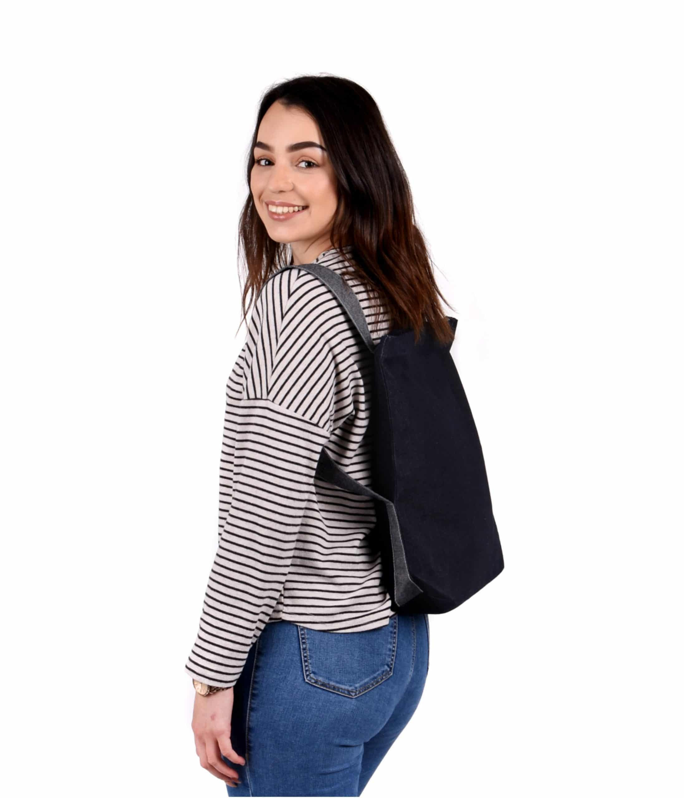 Denim backpack shopper