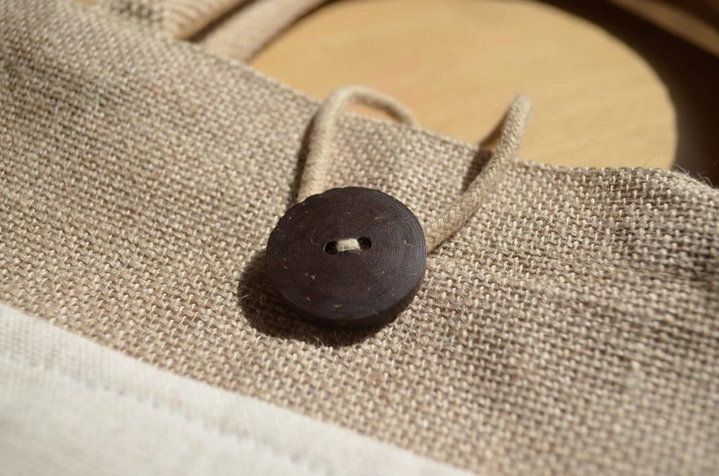Landscape Pocket Jute Bag Front button