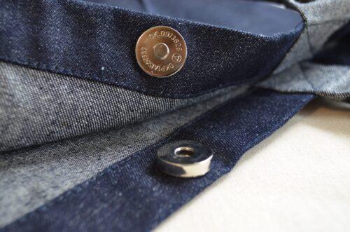 Denim Bucket Bag magnetic closure