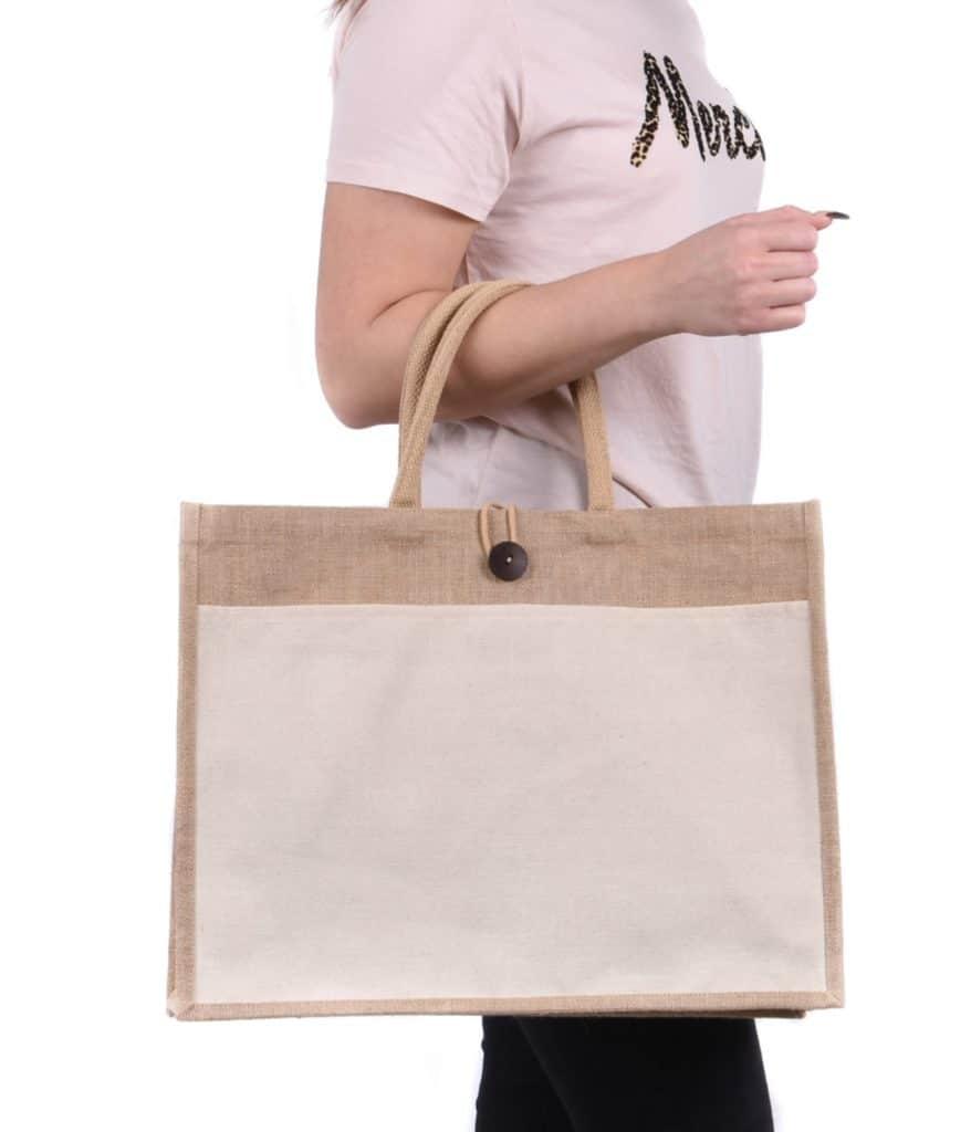 Landscape pocket jute - doodle bag
