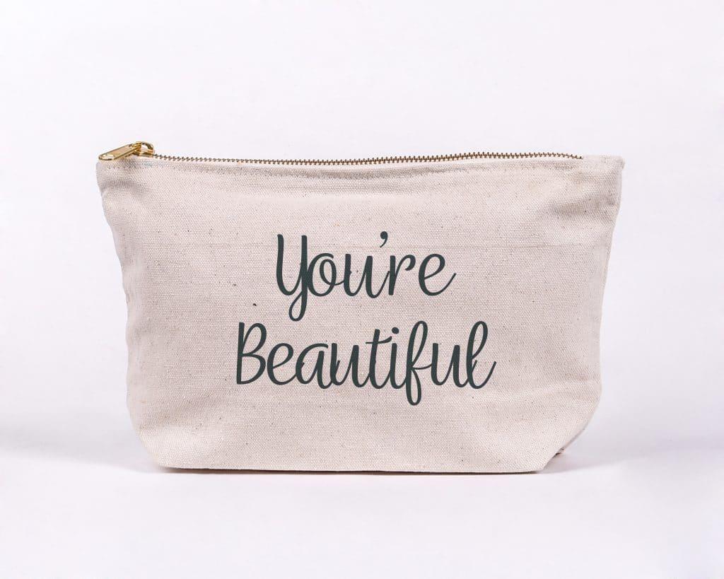 Youre beautiful makeup bag