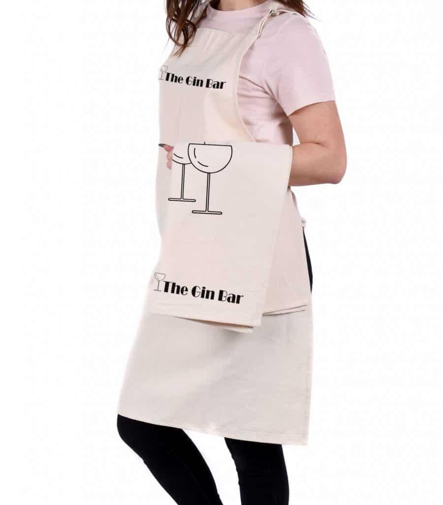 The Gin Bar tea towel and apron